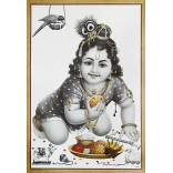 Baby Krishna eating laddu